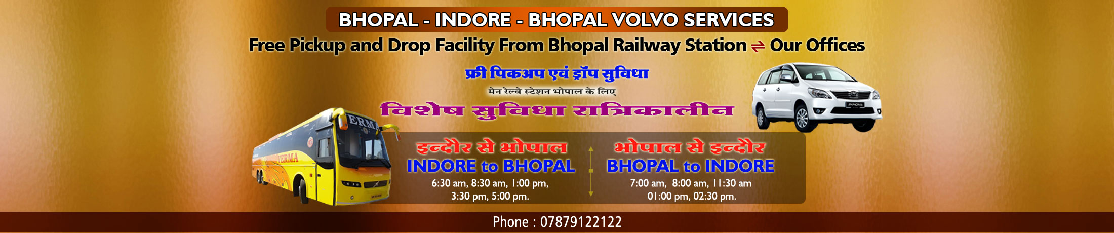 Verma Travels - Bhopal to Indore and Indore to Bhopal Volvo Bus Services